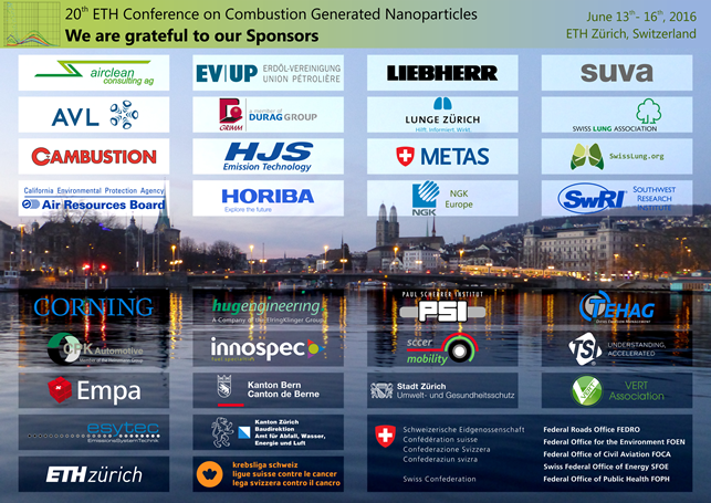 We are grateful to our Sponsors, 20th ETH-Conference on Combustion Generated Nanoparticles
