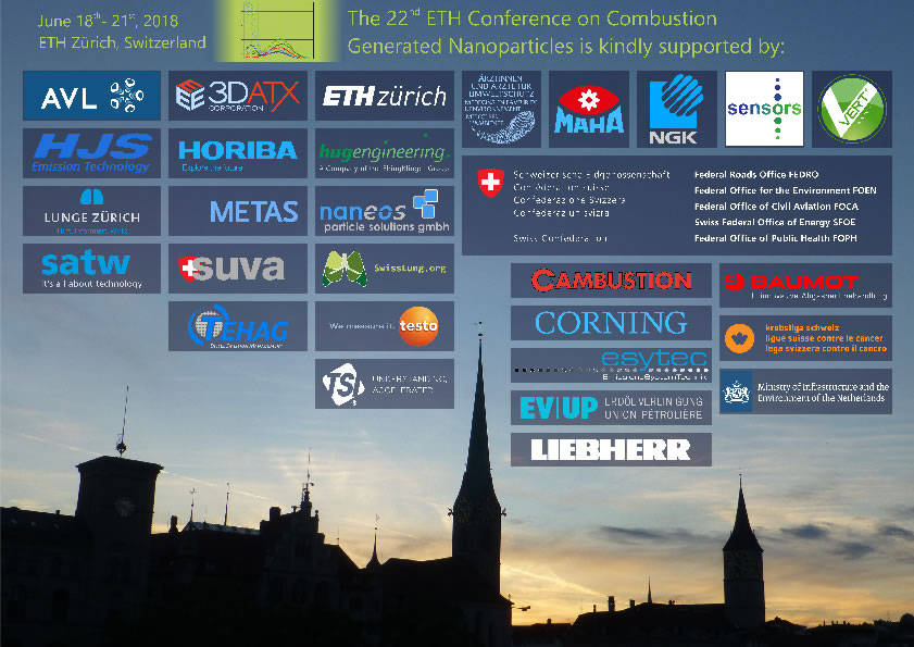 We are grateful to our Sponsors, 22nd ETH-Conference on Combustion Generated Nanoparticles